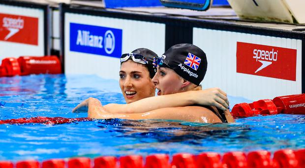 Golden wonder: Bethany Firth and Jessica-Jane Applegate celebrate