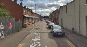 The burglary happened in the St Vincent Street area of north Belfast. Credit: Google