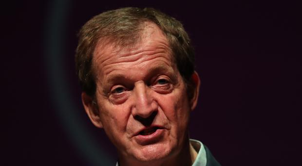 Alistair Campbell speaks at an anti-no deal Brexit rally at Ulster Hall in Belfast (Liam McBurney/PA)