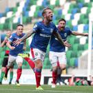 Linfield's Kirk Millar celebrates his goal during today's game at Windsor Park (David Maginnis/Pacemaker Press)