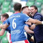 Linfield's manager David Healy celebrates Kirk Millar's winning goal in today's Big Two derby at Windsor Park (David Maginnis/Pacemaker Press)