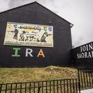 IRA writing appears alongside a Saoradh mural in the Ardoyne area of north Belfast on September 15th 2019 (Photo by Kevin Scott for Belfast Telegraph)