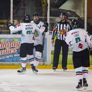 The Belfast Giants in action against Manchester Storm