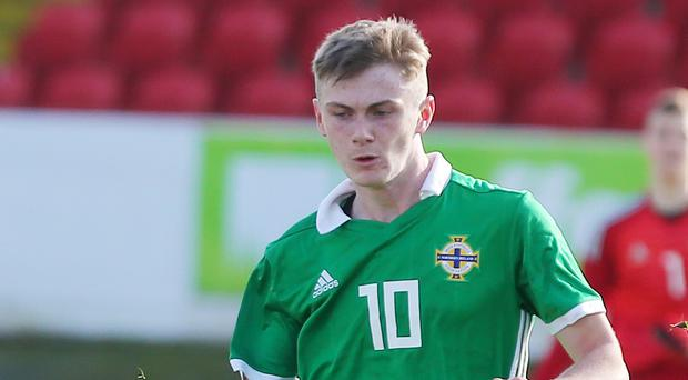 Eoin Teggart in action for Northern Ireland U17s earlier this year.