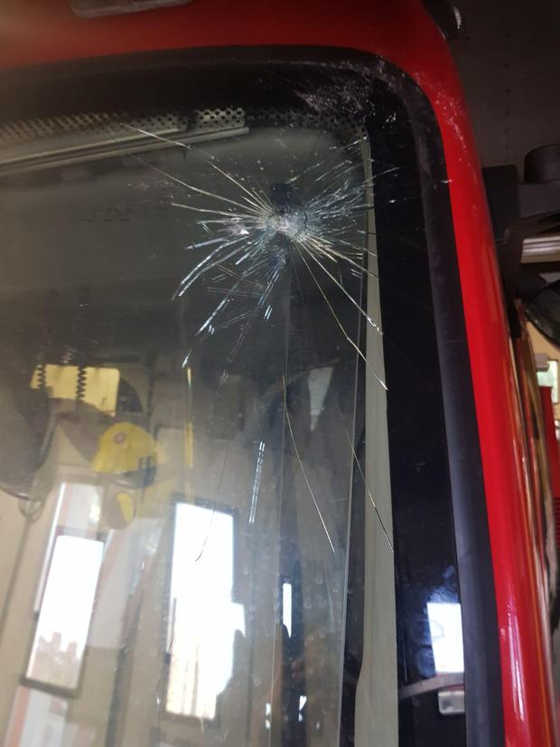 Damage caused to one of the fire engines at Cadogan Fire Station.