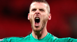 Staying put: David de Gea is delighted to have signed a new long-term contract at Old Trafford
