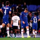 Chelsea's Ross Barkley reacts after missing from the penalty spot during the UEFA Champions League Group H at Stamford Bridge, London. Credit: Nick Potts/PA Wire