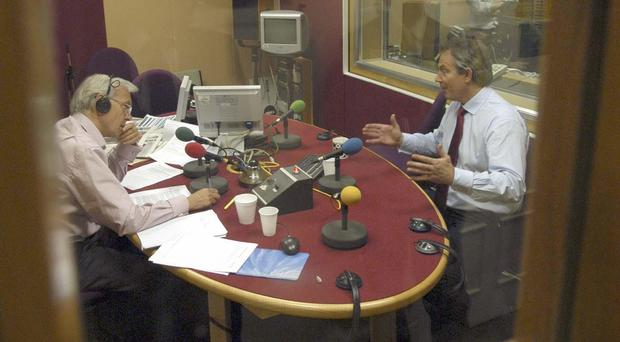 Tony Blair during an interview with John Humphrys on BBC Radio 4's Today programme in 2005 (Jeff Overs/PA)