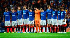 Rangers players pay tribute to former Rangers player Fernando Ricksen who passed away from motor neurone disease this week. Credit: Mark Runnacles/Getty Images