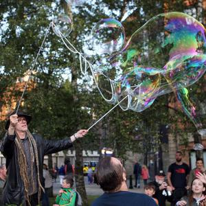 Chris Maul blowing bubbles at Culture Night 2019 in Belfast. Credit: Freddie Parkinson