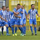 Coleraine's Eoin Bradley celebrates after scoring against Crusaders.