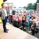 Daniel O'Donnell sings in storage unit for the first time as he opens his son-in-law's new self-storage business in Portadown on Saturday