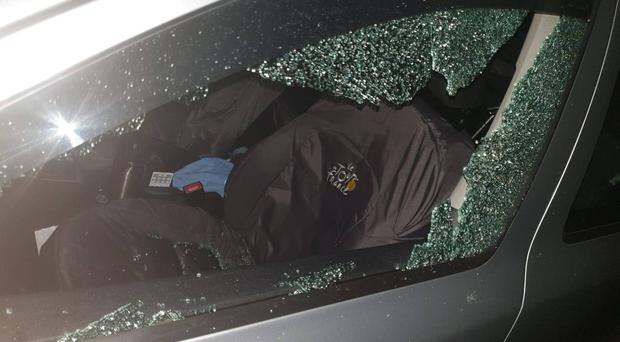 The brick was thrown through a passenger side window of a moving car. Credit: PSNI