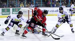 Belfast Giants forward Ben Lake with Dundee Stars' Alex Leclerc (William Cherry/Presseye)