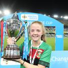 PressEye-Northern Ireland- 21st September 2019-Picture by Brian Little/PressEye Glentoran Women goal scorer Emma McMaster with the trophy after defeating Linfield Ladies 1-0 during Saturday night's Electric Ireland Women's Challenge Cup Final at the National Football Stadium at Windsor Park,Belfast. Picture by Brian Little/PressEye