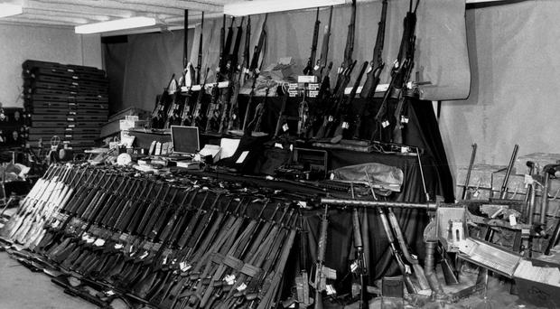 Weapons and ammunition seized at sea on board the trawler Marita Ann in 1984 (PA)