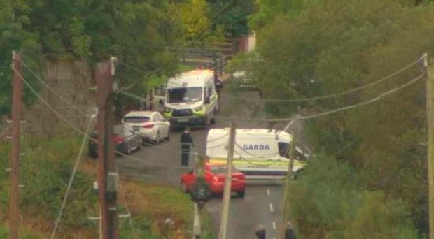 Gardai cordon off an area in Co Cavan