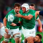 Inspiration: Rory Best, with Iain Henderson in support, drives Ireland forward in yesterday's win over Scotland