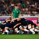 Conor Murray watches on as Ireland's scrum dominates against Scotland.