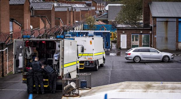 Police and ATO at the scene of a security alert in the Holy Cross Boys Primary School, North Belfast on September 23rd 2019 (Photo by Kevin Scott for Belfast Telegraph)