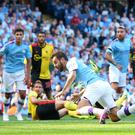 Mixed week: Bernardo Silva en route to his treble against Watford but he's now in hot water