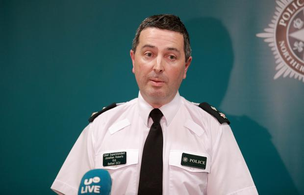 Chief Superintendent Jonathan Roberts speaks to the media about a weapon at Holy Cross Primary School in north Belfast (Photo by Kevin Scott for Belfast Telegraph)