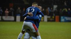 Linfield's Kirk Millar scores during todays game at Taylor's Avenue in Carrick. Photo Colm Lenaghan/Pacemaker Press