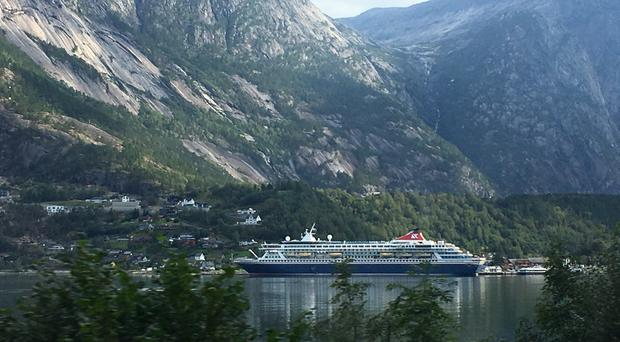 Fred Olsen cruise ship Balmoral in the port at Eidfjord in Norway