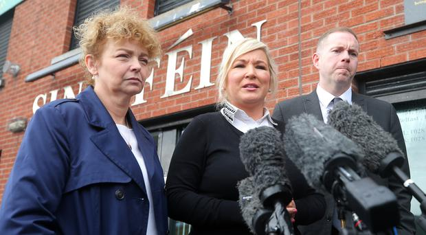 Sinn Fein leader in the north Michelle O'Neill speaks to the press outside the party's office on the Falls Road in west Belfast. Picture by Jonathan Porter/PressEye