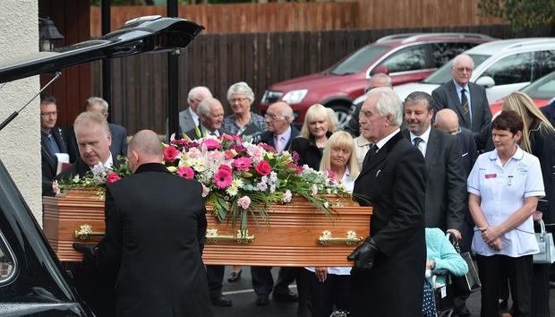 The funeral for Maud Nicholl takes place at Alan Francey's Funeral Church on Tuesday. Credit: Colm Lenaghan/Pacemaker Press