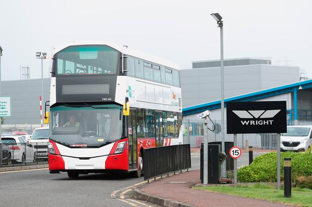 A completed Bus Eireann bus leaves the Wrightbus plant in Ballymena, Northern Ireland, on the day the family-owned firm which built London's distinctive red double decker Routemaster buses goes into administration. Wednesday September 25, 2019.