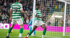 Celtics Vakoun Issouf Bayo celebrates scoring his side's first goal of the game during the Betfred Cup, Quarter Final at Celtic Park, Glasgow. Photo credit: Jeff Holmes/PA Wire.