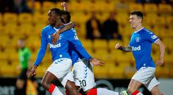 Rangers Glen Kamara celebrates his teams 1st goal during the Betfred Cup, Quarter Final at the Almondvale Stadium, Livingston. Photo credit: Steve Welsh/PA Wire.