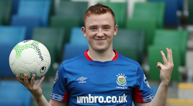 Shayne Lavery scored a quickfire hat-trick against his former club.