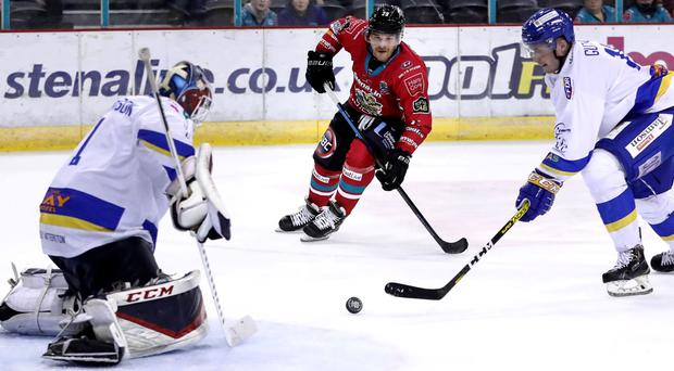 Belfast Giants defenceman Jesse Forsberg making his return from injury against the Fife Flyers' (William Cherry/Presseye)