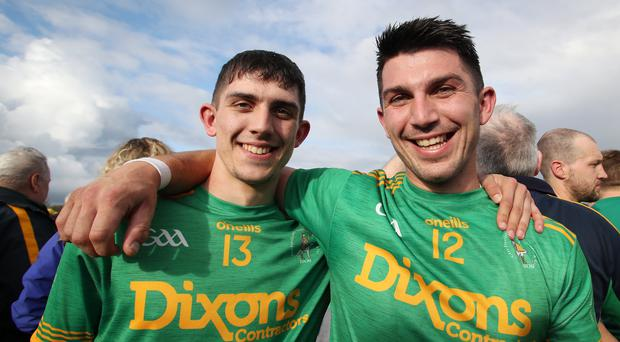Family fortunes: Seaan (left) and Nigel Elliott, who scored the Dunloy goals in their county final win over Cushendall