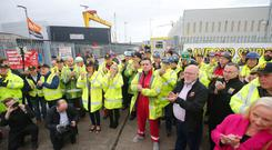 Harland and Wolff workers celebrate return to the shipyard today