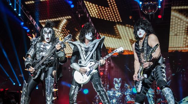 Gene Simmons, Tommy Thayer and Paul Stanley of Kiss performing live (Katja Ogrin/PA)