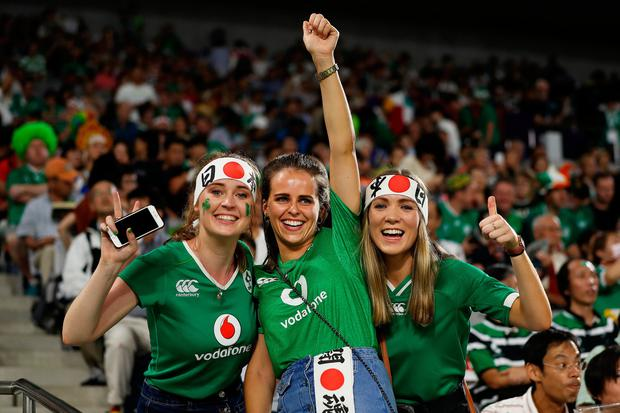 KOBE, JAPAN - OCTOBER 03: Ireland fans enjoy the pre match atmosphere prior to the Rugby World Cup 2019 Group A game between Ireland and Russia at Kobe Misaki Stadium on October 03, 2019 in Kobe, Hyogo, Japan. (Photo by Mike Hewitt/Getty Images)