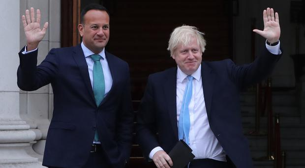 Irish PM Leo Varadkar with Prime Minister Boris Johnson (Niall Carson/PA)