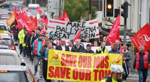 March for jobs from Unite Ballymena offices to gates of Wrightbus site Ballymena. Credit: Jonathan Porter/PressEye