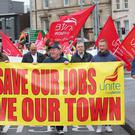 Press Eye - Belfast - Northern Ireland - Friday 4th October 2019 Picture by Jonathan Porter / Press Eye March for jobs from Unite Ballymena offices to gates of Wrightbus site Ballymena. Unite calls rally and march as campaign intensifies to save jobs and skills, Unite is determined to secure a future for our members in Wrightbus and for Ballymena, we will be ferocious in our campaign to save these jobs.