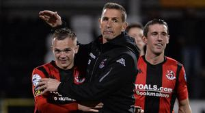 PACEMAKER BELFAST 04/10/2019 Crusaders v Linfield Danske Bank Premiership Crusaders Manager Stephen Baxter with match winner Rory Hale after beating Linfield at evenings game at Seaview in Belfast. Photo Colm Lenaghan/Pacemaker Press
