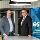 Alastair Hamilton, CEO of Invest Northern Ireland joined Chris Dillie, President and CEO of ESO Solutions in Belfast, to announce that the company is establishing an engineering centre in Belfast which will create 120 new jobs.