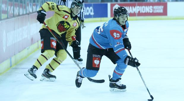 Belfast Giants winger Patryk Wronka skates away from Lulea defenceman Albin Thyni Johansson (Matt Mackey/Presseye)