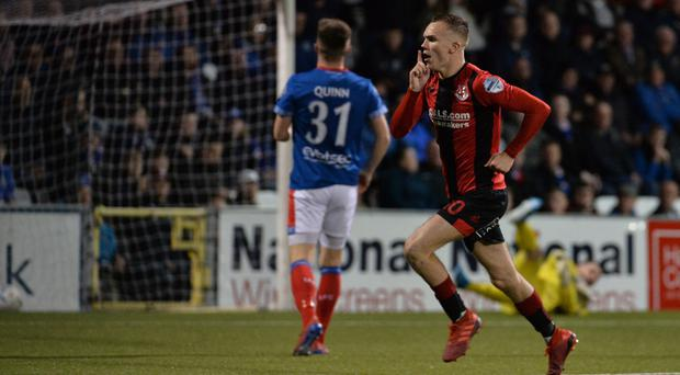 Crusaders Rory Hale scoring at Seaview in Belfast. Credit: Colm Lenaghan/Pacemaker Press