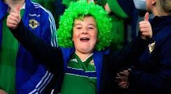 A young Northern Ireland fan before the UEFA Euro 2020 qualifying, group C match at the Stadion Feijenoord, Rotterdam. PA Photo. Picture date: Thursday October 10, 2019. See PA story SOCCER Netherlands. Photo credit should read: John Walton/PA Wire. RESTRICTIONS: Editorial use only, No commercial use without prior permission.