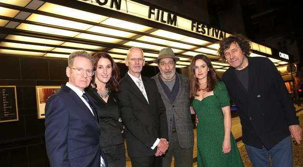Dermot Lavery and Michael Hewitt of Doubleband, the filmmakers behind 'Lost Lives', pictured at the premiere at the London Film Festival tonight with actors Bronagh Waugh, Ciaran Hinds, Judith Roddy and Stephen Rea who all take part in the film. Credit: Stephen Davison