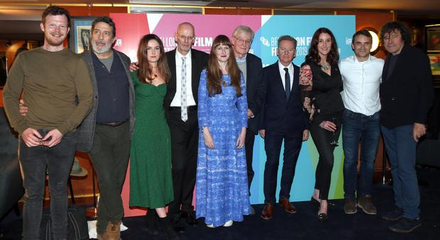 Dermot Lavery and Michael Hewitt of Doublebandwith Seamus O'Hara, Ciaran Hinds, Judith Roddy, Emer O'Conner, David McVea, Branagh Waugh, Martin McCann and Stephen Rea who all take part in the film. Credit: Stephen Davison