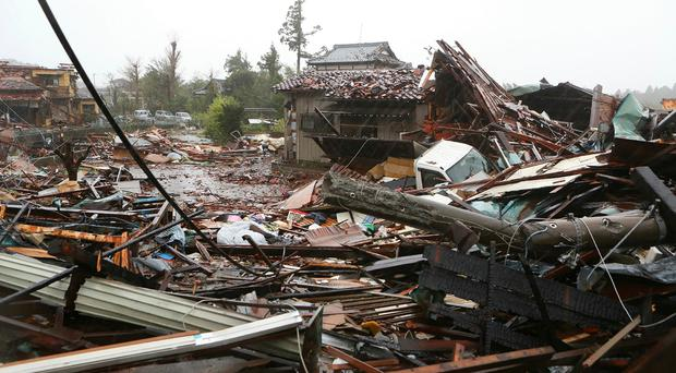 Damaged homes caused by strong wind brought by Typhoon Hagibis in Ichihara, Chiba.